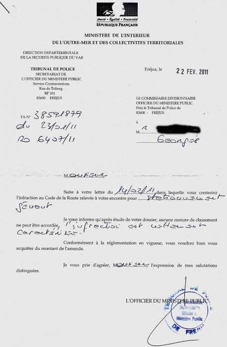 lettre contestation de pv