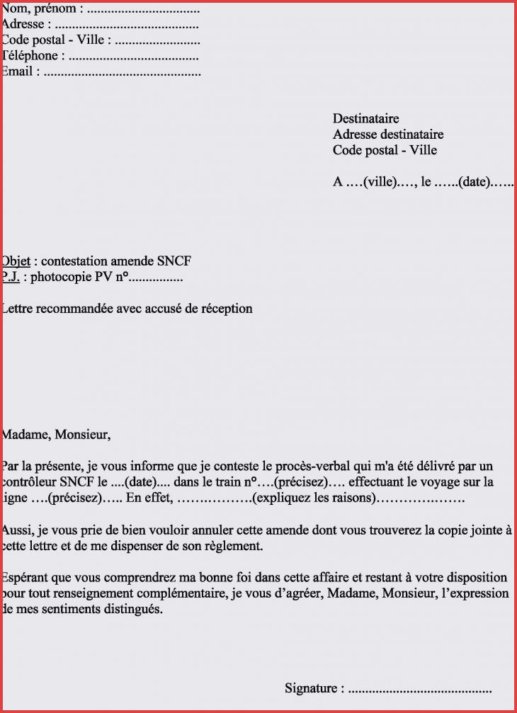 lettre contestation pv gratuite
