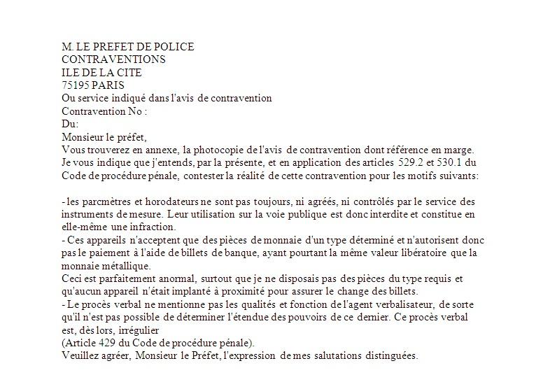 lettre contestation pv non recu
