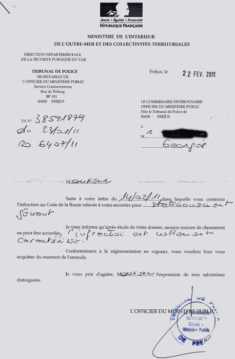 lettre contestation pv stationnement