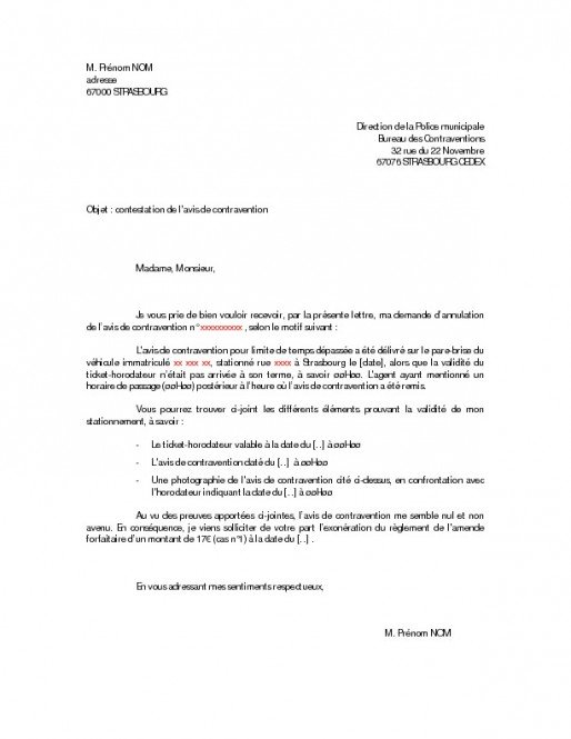 lettre contravention contestation