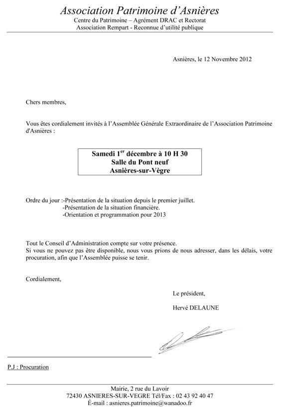 lettre convocation assemblee generale association - Modele de lettre type