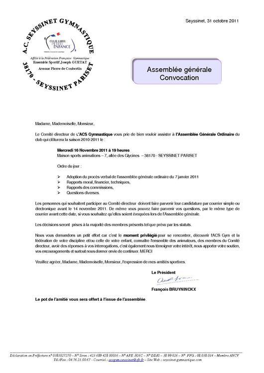 lettre convocation assemblee generale
