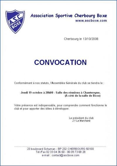 lettre convocation