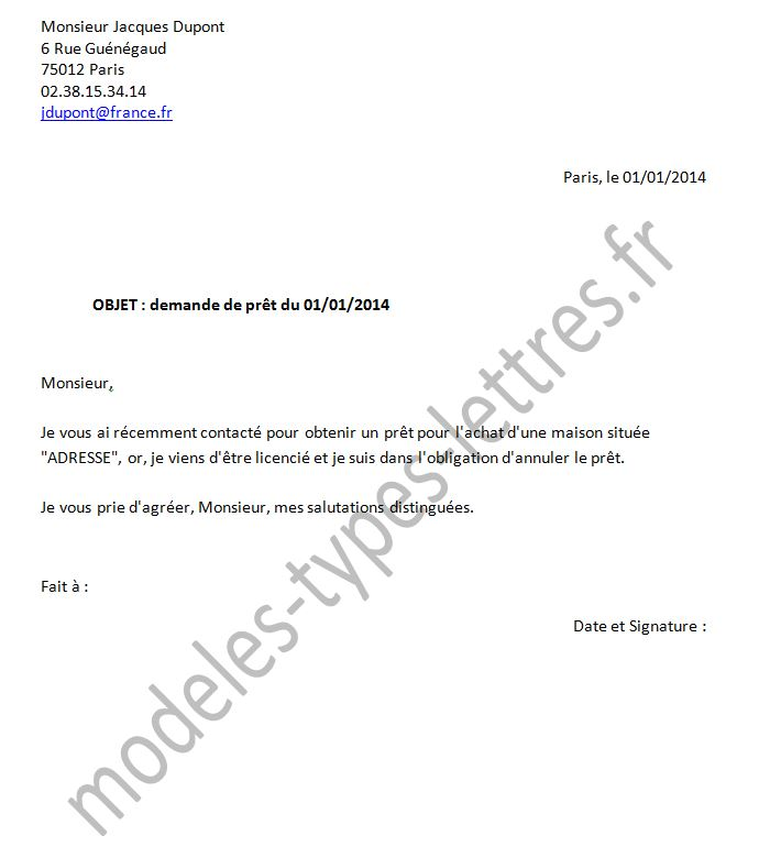 lettre d'annulation