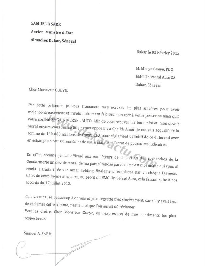 lettre d excuse modele