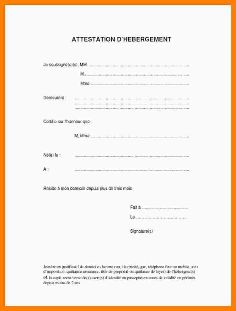 lettre d'hebergement pour passeport