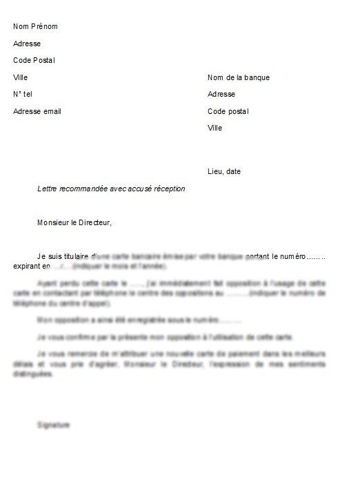 lettre d'opposition