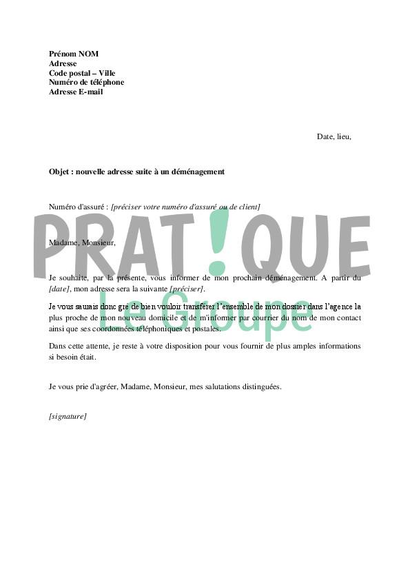lettre de changement d'adresse cpam - Modele de lettre type
