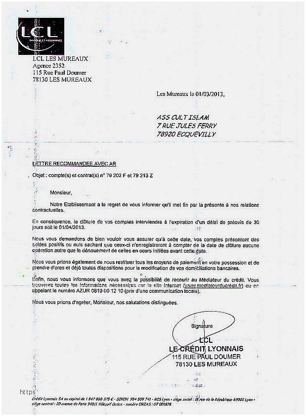 lettre de cloture de compte bancaire lcl