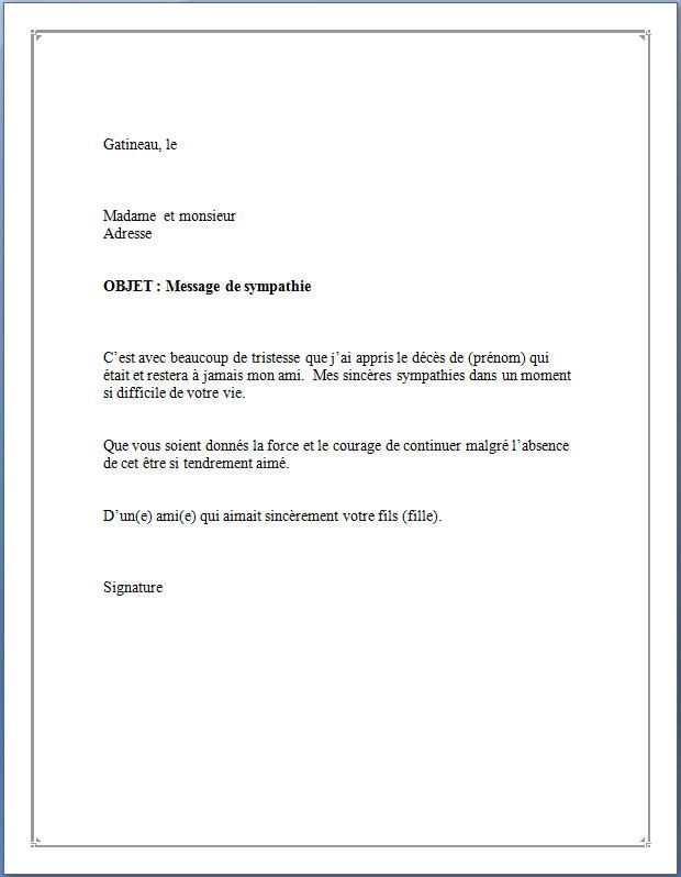 lettre de condoleances a un client