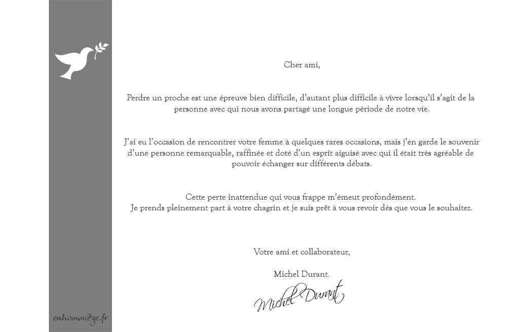 lettre de condoleances deces