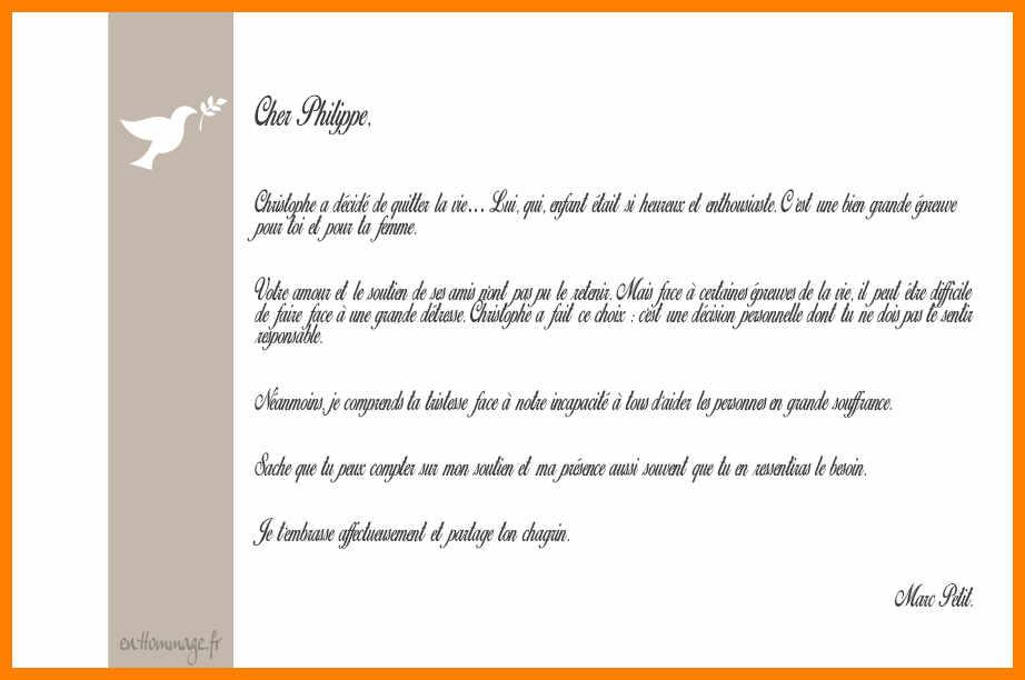 lettre de condoleances professionnelle - Modele de lettre type