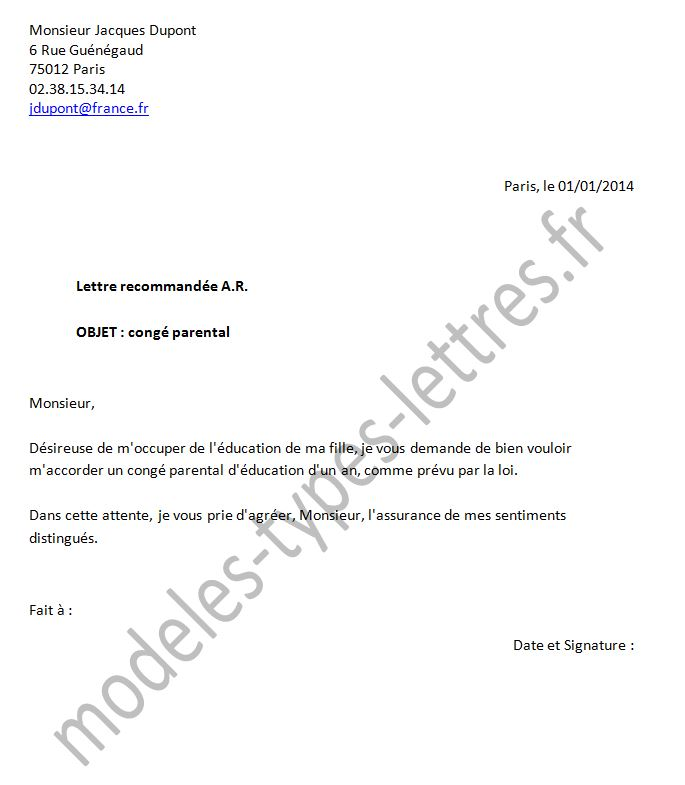 lettre de conge parental a son employeur