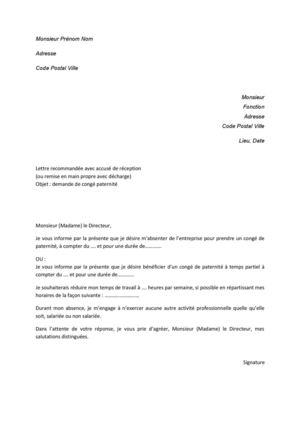 lettre de conges paternite