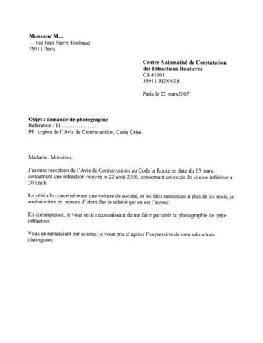 lettre de contestation avis de contravention