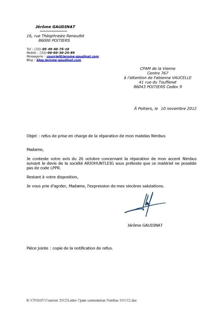 lettre de contestation cpam