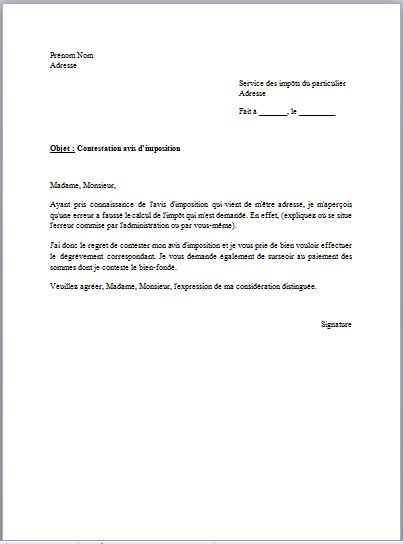 lettre de contestation de paiement gratuite