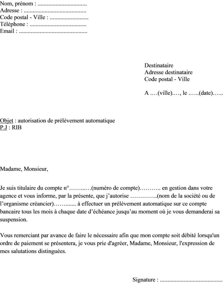 lettre de contestation de prelevement bancaire