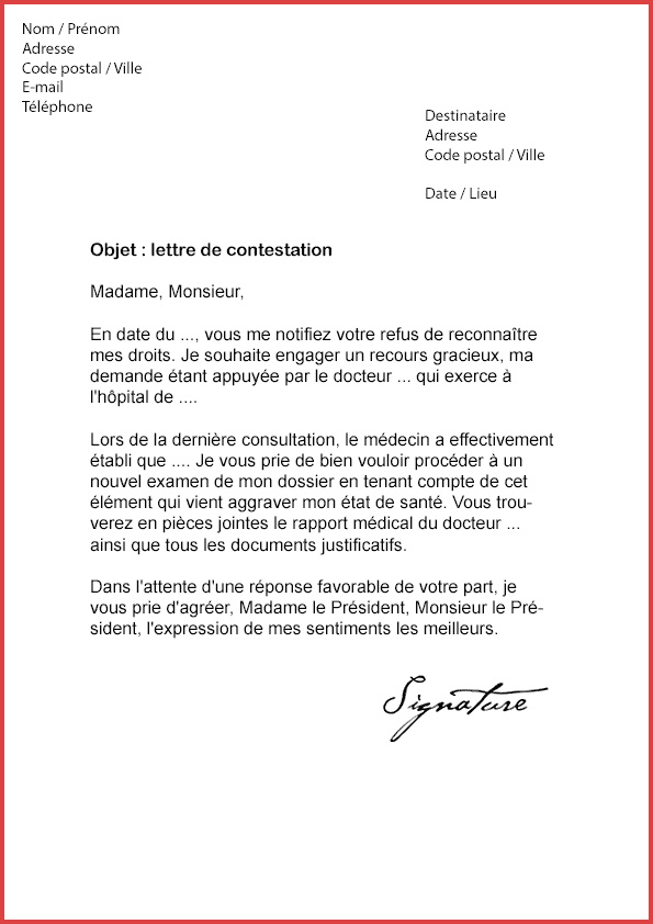 lettre de contestation facture hopital modele de lettre type