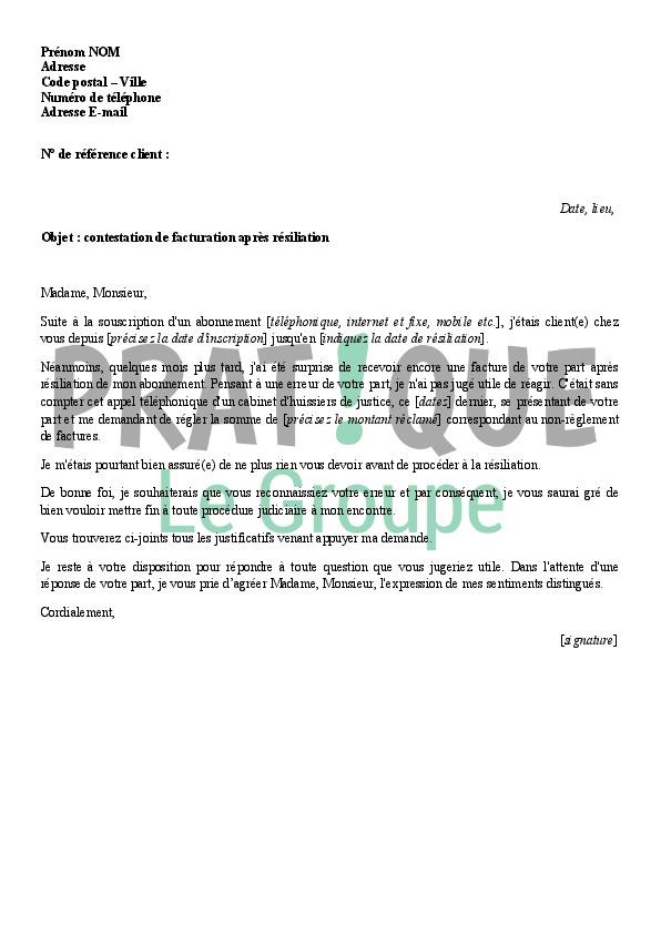 lettre de contestation facture sfr