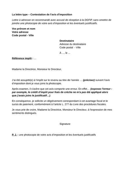 lettre de contestation impot sur le revenu - Modele de lettre type