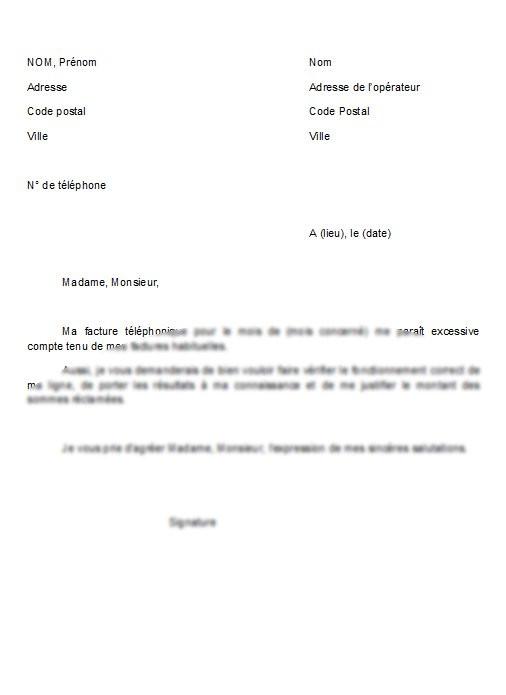 lettre de contestation modele