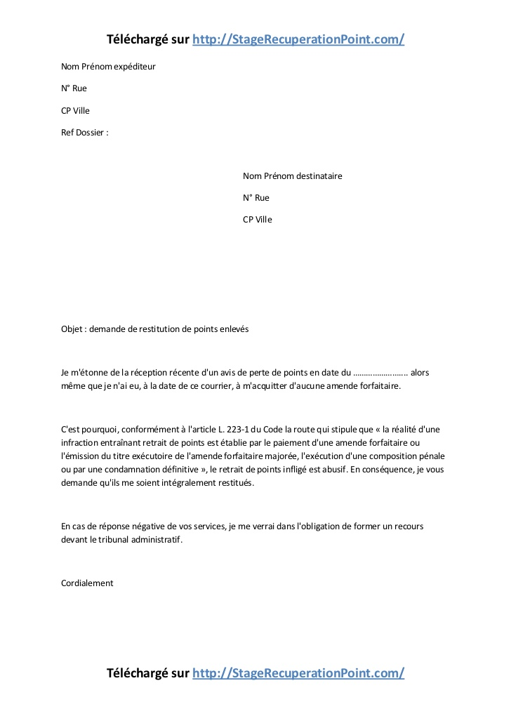 lettre de contestation retrait de points