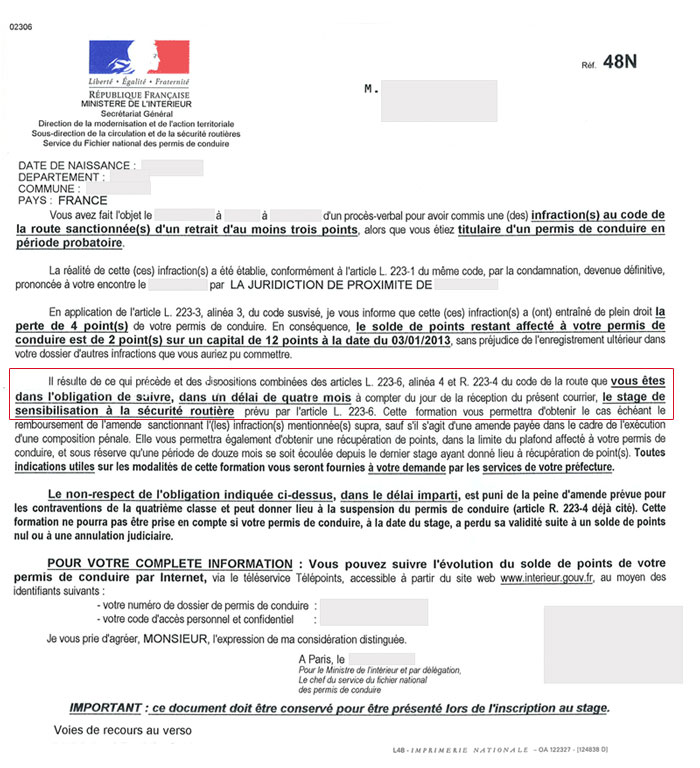 lettre de contestation retrait de points