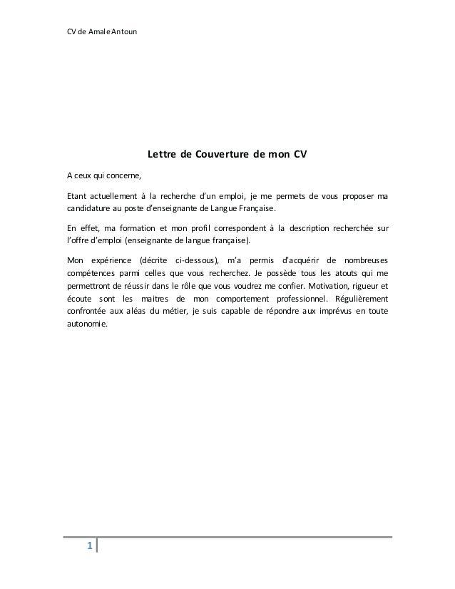 lettre de couverture