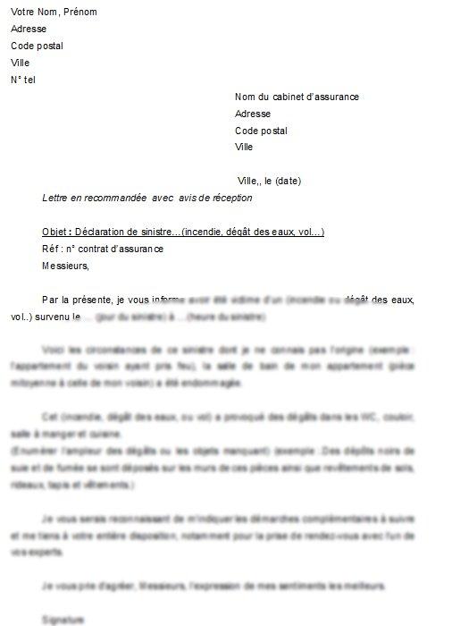 lettre de declaration d'accident
