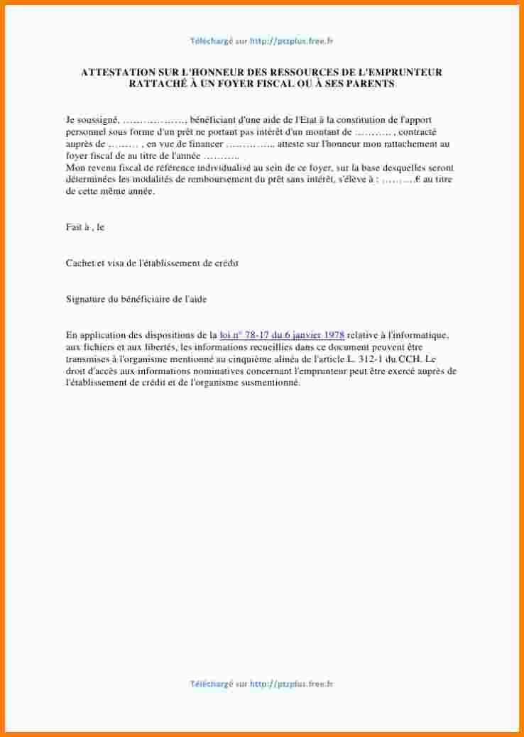 lettre de declaration sur l'honneur d'hebergement - Modele de lettre type