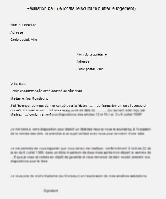 lettre de dedit 1 mois