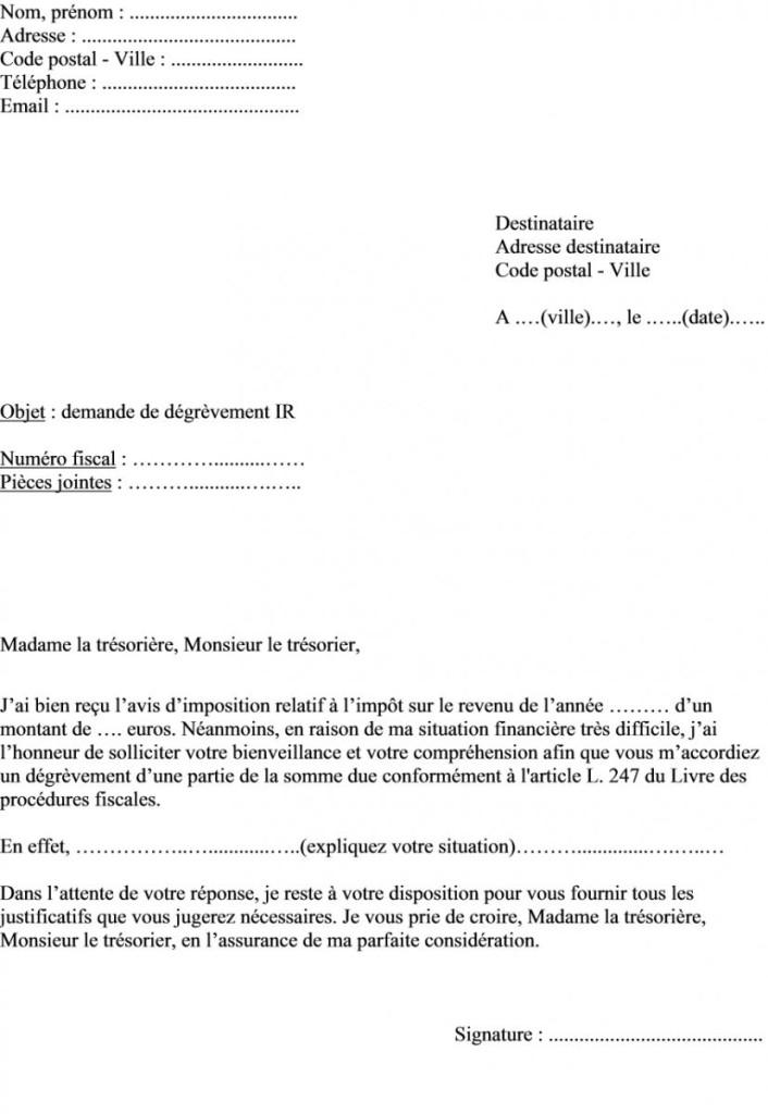 lettre de degrevement taxe fonciere