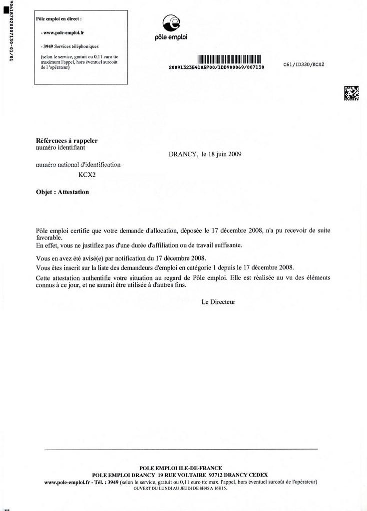 lettre de demande d'attestation assedic - Modele de lettre type