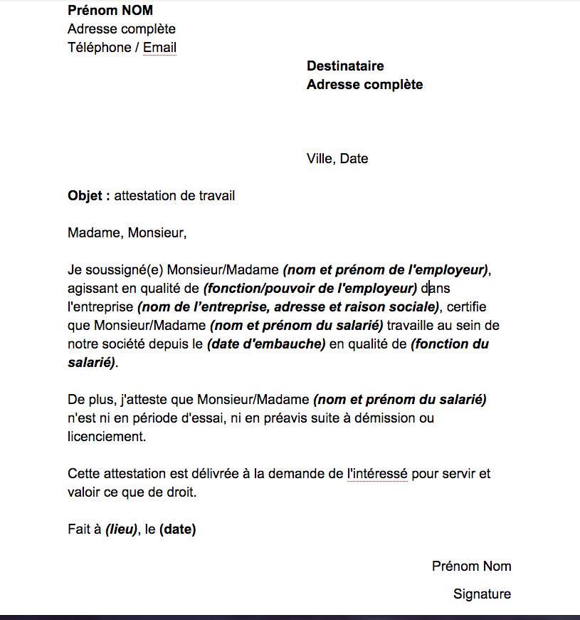 lettre de demande d'attestation de travail gratuit ...