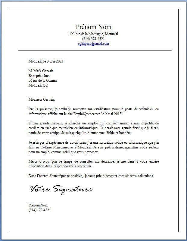 lettre de demande d echantillon
