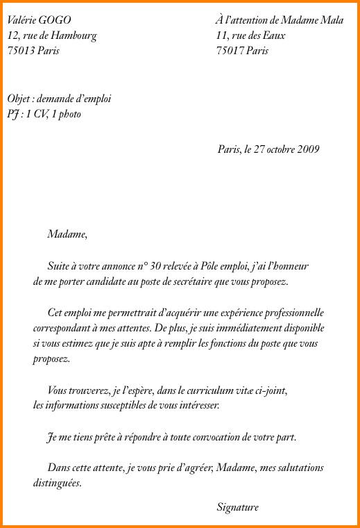 lettre de demande d emploi manuscrite