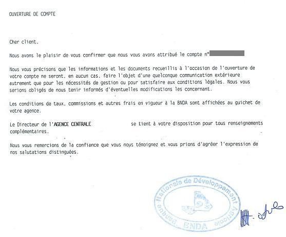 lettre de demande d'ouverture de compte bancaire