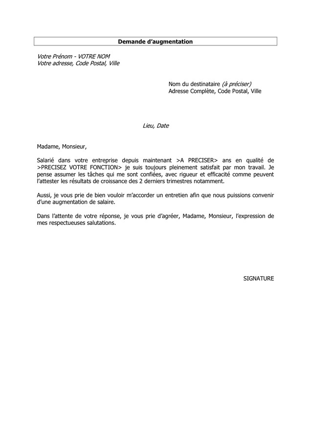 lettre de demande de bulletin de salaire