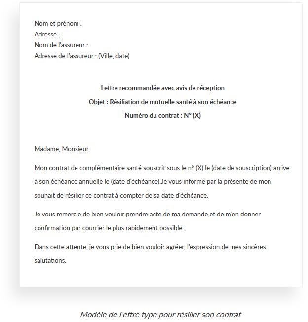 lettre de demande de changement de formule de mutuelle