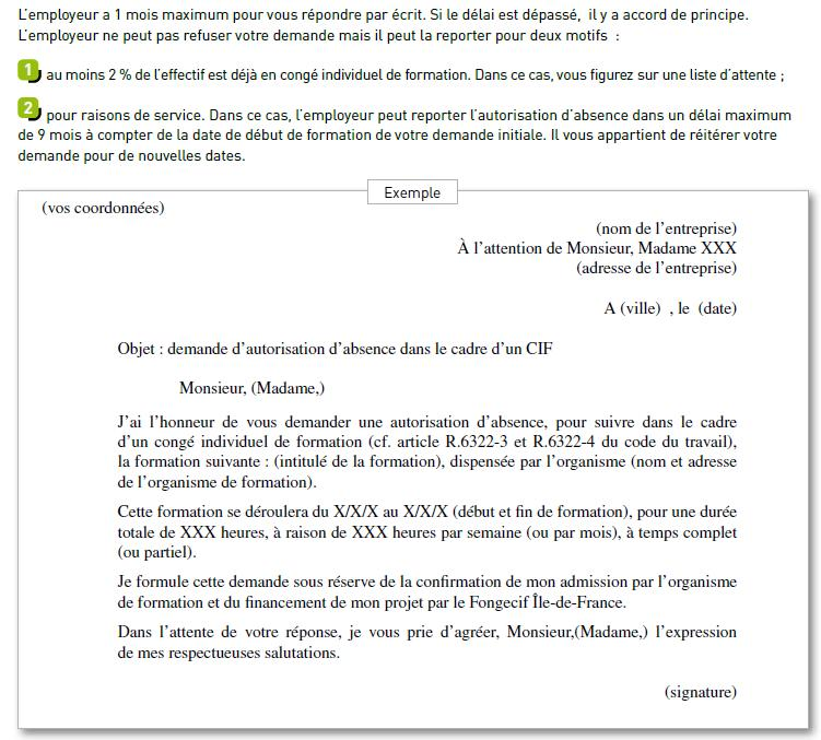 lettre de demande de conge individuel de formation
