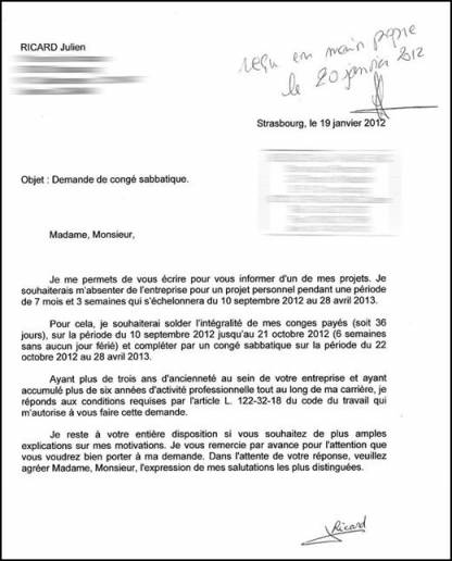 lettre de demande de conge payes