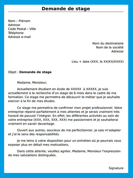 lettre de demande de stage d u0026 39 immersion