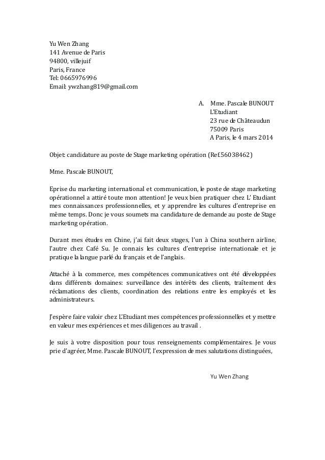 lettre de demande de stage d'immersion - Modele de lettre type
