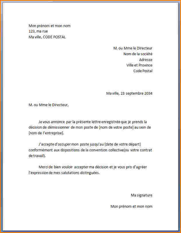lettre de demission cdd pdf - Modele de lettre type