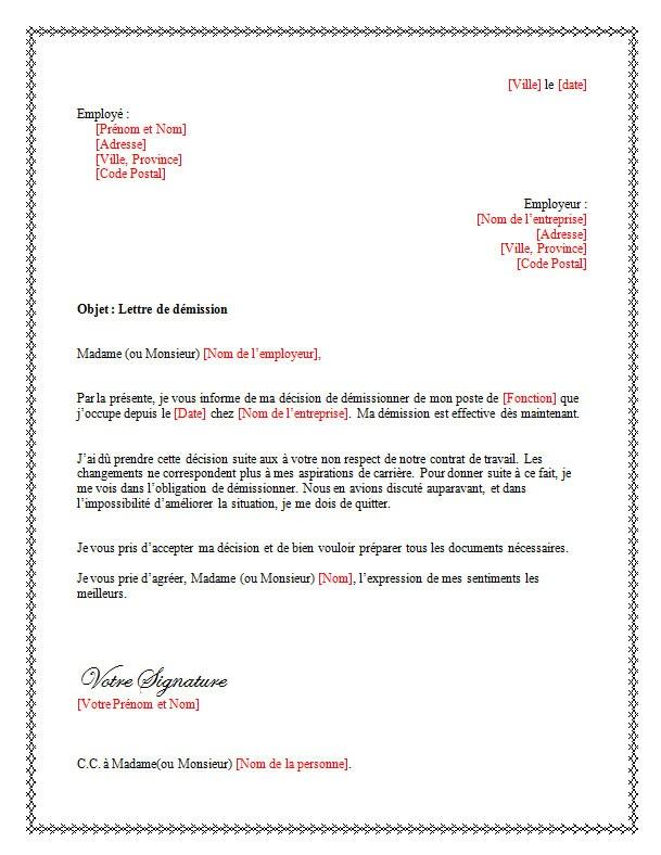 lettre de demission cdi modele - Modele de lettre type
