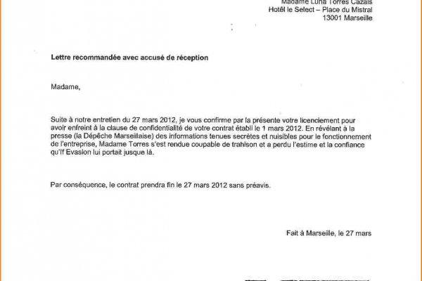 lettre de demission cdi remise en main propre