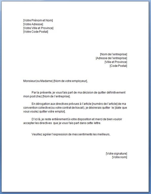 lettre de demission d u0026 39 un cdd
