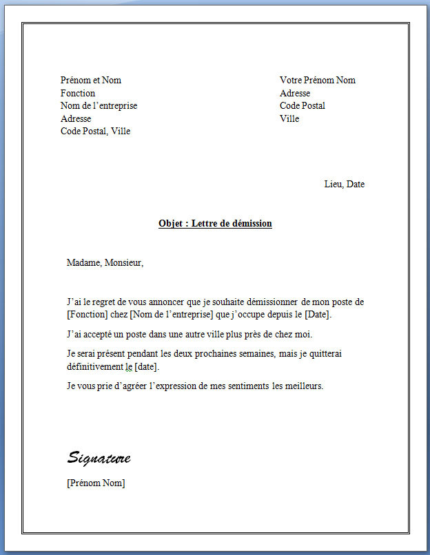 lettre de demission d u0026 39 une association exemple